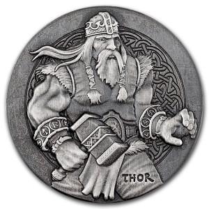 Stříbrná mince Vikingové - Thor 2 oz vysoký reliéf  2016