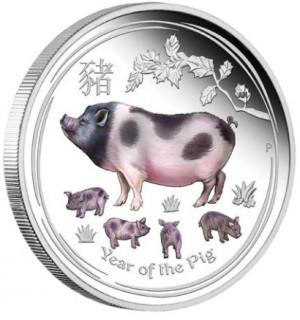Stříbrná mince Rok Vepře 1 oz proof kolor 2019 Lunární série II