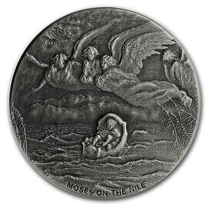 Stříbrná mince Biblická série Mojžíš na Nilu 2 oz 2019