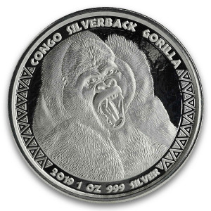 Stříbrná mince Congo Silverback Gorilla 1 oz 2019