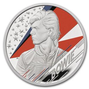 Stříbrná mince Hudební legendy - David Bowie 1 oz proof, kolorovaná 2020