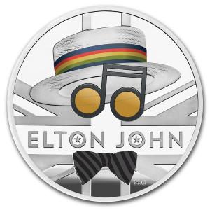 Stříbrná mince Hudební legendy - Elton John 1 oz proof, kolorovaná 2020