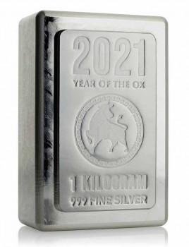 Stříbrný investiční slitek Stacker Rok Buvola 2021 1 kg