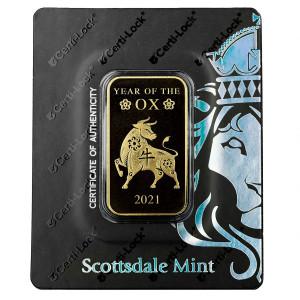 Zlatý investiční slitek Rok Buvola 2021 1 oz Scottsdale