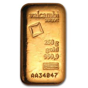 Zlatý investiční slitek 250 g Valcambi