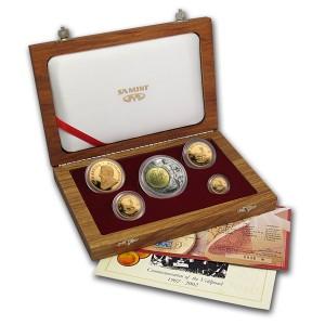 Sada 5 zlatých mincí Krugerrand 1,85 oz proof 2002