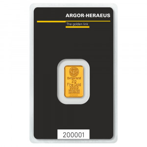 Zlatý investiční slitek 2 g Argor-Heraeus