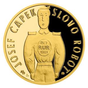 Zlatá medaile Příběhy naší historie – R.U.R. a slovo Robot 1/4 oz proof