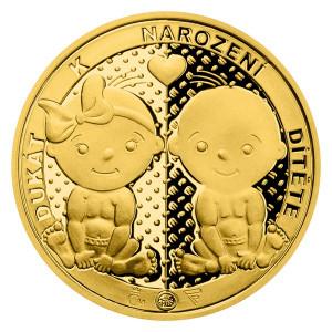 Zlatý dukát k narození dítěte 3,49 g proof 2021