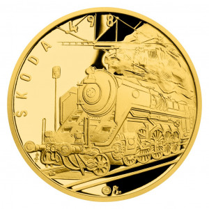 Zlatá medaile Parní lokomotiva Škoda 498 Albatros 1/2 oz proof