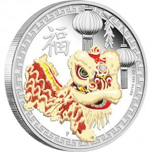 Stříbrná mince Čínský lví tanec 1 oz proof 2015