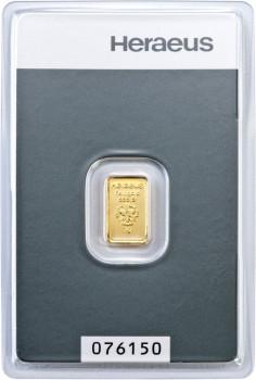 Zlatý investiční slitek 1 g Heraeus
