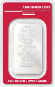 Stříbrný investiční slitek 50 g - Argor-Heraeus