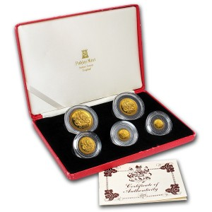 Sada 5 zlatých mincí Ostrov Man Anděl 1,9 oz proof 1986