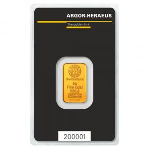 Zlatý investiční slitek 5 g Argor-Heraeus