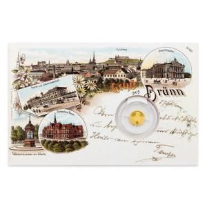 Zlatá mince Dobové pohlednice - Brno Stará radnice 0,5 g proof 2017