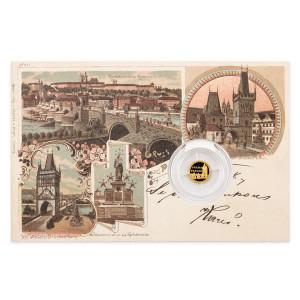 Zlatá mince Dobové pohlednice - Praha Karlův most 0,5 g proof 2017
