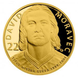 Zlatá mince Legendy čs. hokeje David Moravec 1/4 oz proof 2018