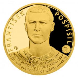 Zlatá mince Legendy čs. hokeje František Pospíšil 1/4 oz proof 2018