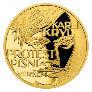 """Zlatá mince Cesta za svobodou - Karel Kryl """"Protest song"""" 1/4 oz proof 2019"""