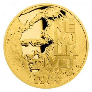Zlatá mince Cesta za svobodou - Petice Několik vět 1/4 oz proof 2019