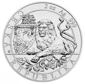 Stříbrná mince Český lev 2 oz b.k. číslovaná 2019