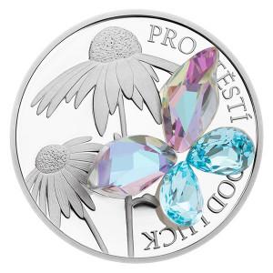 Stříbrná mince Crystal coin – Pro štěstí aqua bohemica 1 oz proof 2019