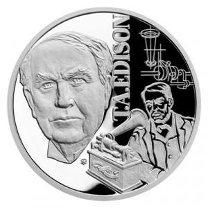Stříbrná mince Géniové 19. stol. - T. A. Edison proof 1 oz 2020