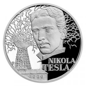 Stříbrná mince Géniové 19. stol. - Nikola Tesla proof 1 oz 2020