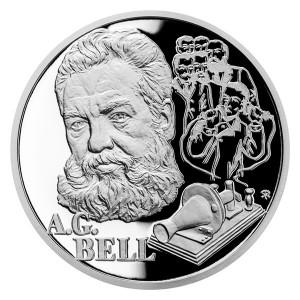 Stříbrná mince Géniové 19. stol. - A. G. Bell proof 1 oz 2020