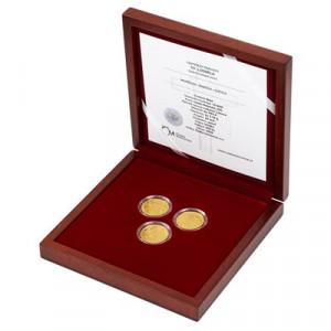Sada tří zlatých mincí Sv. Ludmila 3 x 1/4 oz proof 2020