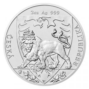 Stříbrná mince Český lev 2 oz b.k. 2020