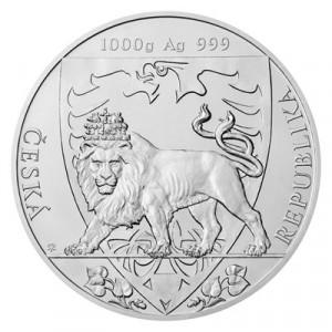 Stříbrná mince Český lev 1 kg b.k. 2020