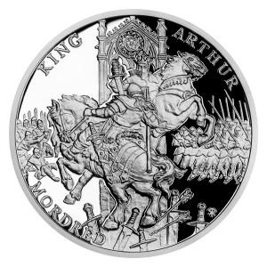 Stříbrná mince Legenda o králi Artušovi - Artuš a Mordred 1 oz proof 2021