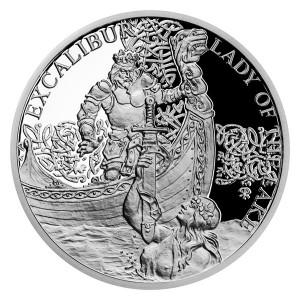 Stříbrná mince Legenda o králi Artušovi - Jezerní paní a Excalibur 1 oz proof 2021