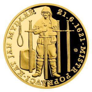 Zlatá mince Staroměstská exekuce - Kat Mydlář 1/4 oz proof 2021