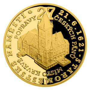 Zlatá mince Staroměstská exekuce - Staroměstské náměstí 1/4 oz proof 2021