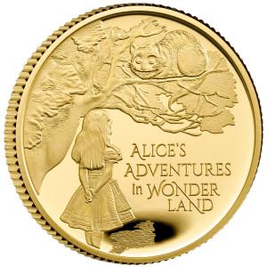 Zlatá mince Alenka v říši divů 1/4 oz proof 2021