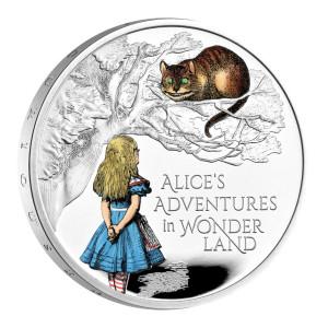 Stříbrná kolorovaná mince Alenka v říši divů 1 oz proof 2021