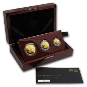 Sada 3 zlatých mincí Britannia Premium 0,85 oz proof 2014