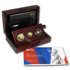 Sada 3 zlatých mincí Britannia Premium 0,4 oz proof 2014