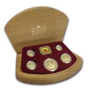 Sada 5 zlatých mincí Australian Nugget 1,90 oz proof 2000