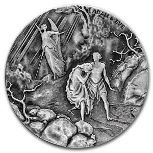 Stříbrná mince Biblická série Adam a Eva 2 oz 2016