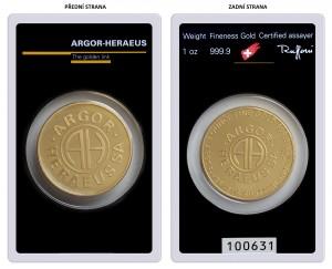 Zlatý investiční slitek Roundbar 1 oz Argor-Heraeus