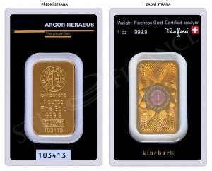 Zlatý investiční slitek Kinebar 1 oz Argor-Heraeus