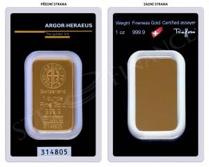 Zlatý investiční slitek 1 oz Argor-Heraeus