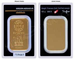 Zlatý investiční slitek 100 g Argor-Heraeus