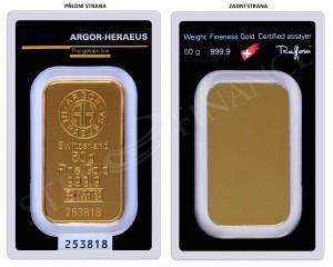 Zlatý investiční slitek 50 g Argor-Heraeus