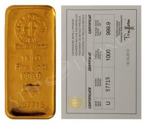 Zlatý investiční slitek 1000 g Argor-Heraeus
