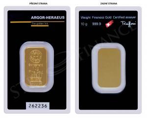 Zlatý investiční slitek 10 g Argor-Heraeus